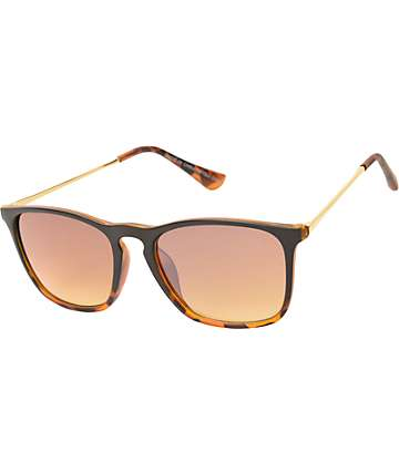 Oversized Tortoise & Gold Thin Arm Sunglasses