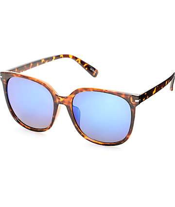 Oversized Tortoise Blue Mirror Sunglasses