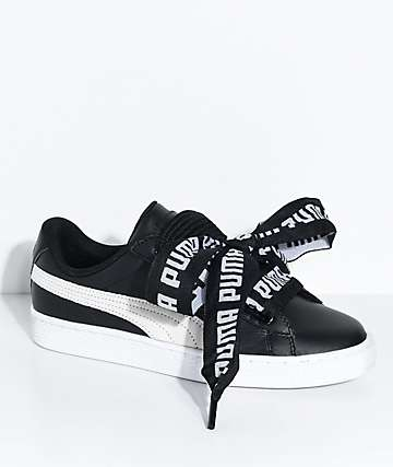 PUMA Basket Heart DE Black & White Shoes