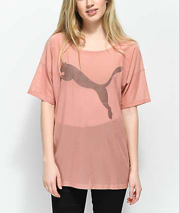 PUMA Dancer Drapey Cameo Brown Mesh T-Shirt