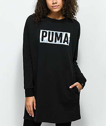 PUMA Fusion Black Foiled Crew Neck Sweatshirt