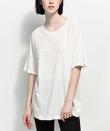 PUMA Fusion White Elongated T-Shirt