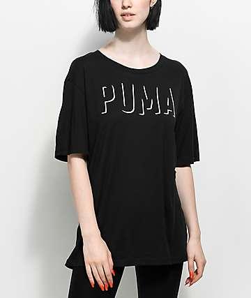 PUMA Fusion camiseta negra alargada