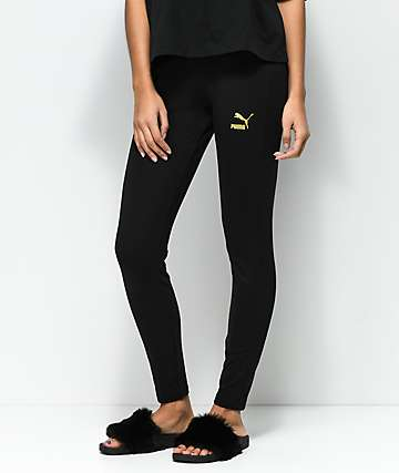 PUMA Glam Black & Gold Leggings