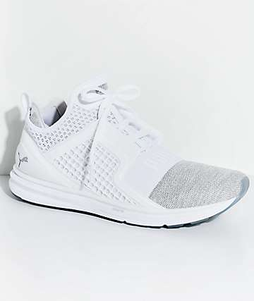 PUMA Ignite Limitless zapatos tejidos en blanco y color plata