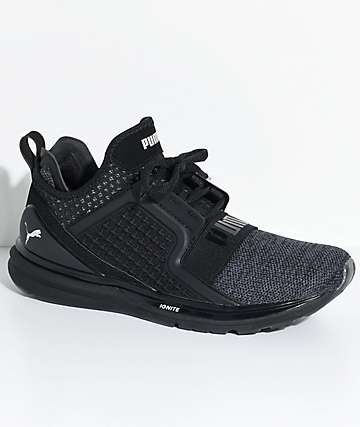 PUMA Ignite Limitless zapatos tejidos en negro y color plata