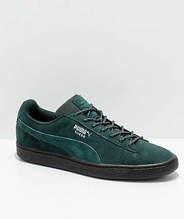 PUMA Suede Classic Green & Black Weatherproof Shoes