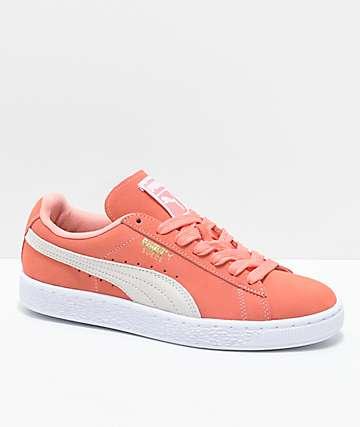 PUMA Suede Classic zapatos en color coral y blanco