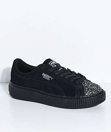 PUMA Suede Platform Crushed Gem & Black Shoes