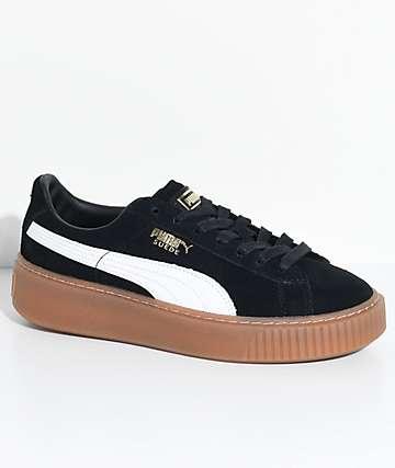 PUMA Suede Platform zapatos en blanco, negro y goma