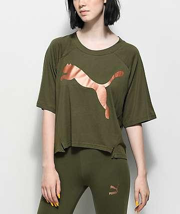 PUMA Transition camiseta en verde olivo y metálico
