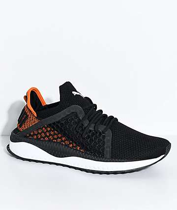 PUMA Tsugi Netfit Black, White & Scarlet Ibis Shoes