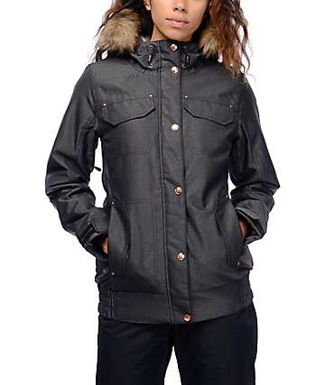 PWDR Room Brittany Faux Fur Black Snowboard Jacket