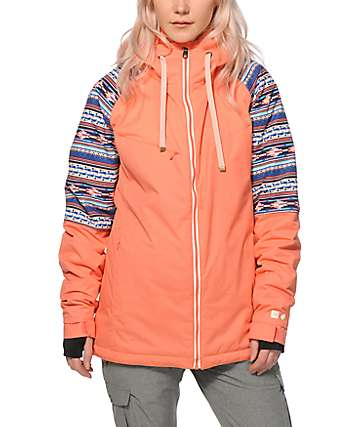 PWDR Room District Coral Tribal 10K Snowboard Jacket