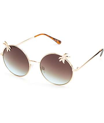 Palm Round Gold Sunglasses