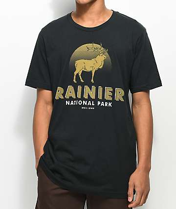 Parks Project WA Mt. Rainier Elk Vintage Black T-Shirt