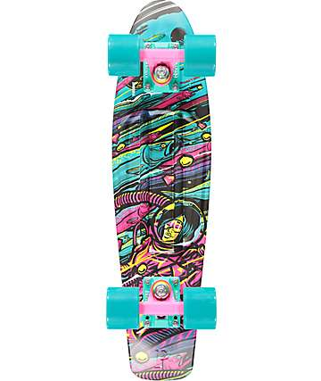 "Penny Sea Space Turquoise & Neon Pink 22""  Cruiser Complete Skateboard"