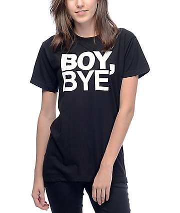 Petals & Peacocks Boy Bye camiseta negra