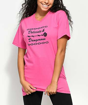 Petals & Peacocks Delicate & Dangerous Pink T-Shirt