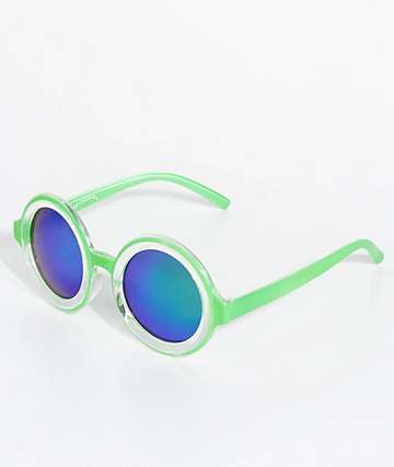 Petals & Peacocks Extasy Green Sunglasses