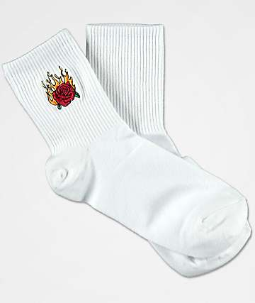 Petals & Peacocks Flaming Rose White Ankle Socks