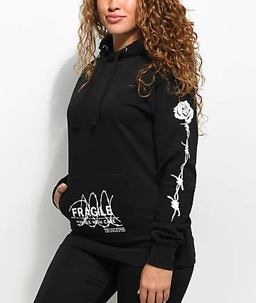 Petals & Peacocks Fragile Black Hoodie