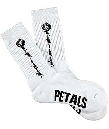 Petals & Peacocks Fragile White Crew Socks
