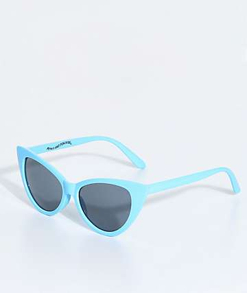 Petals & Peacocks Meow Meow Baby Blue Sunglasses