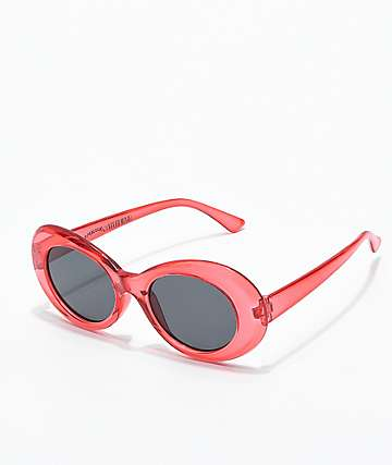 Petals & Peacocks Nevermind Clear Red Sunglasses