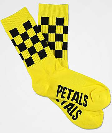 Petals & Peacocks Taxi Yellow Crew Socks