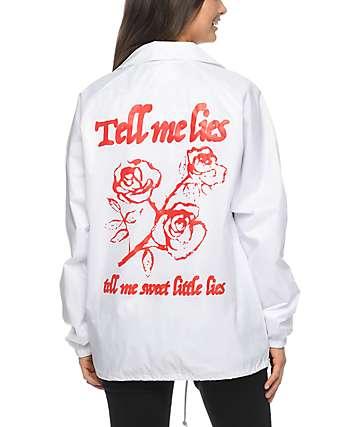 Petals & Peacocks Tell Me Lies White Coaches Jacket