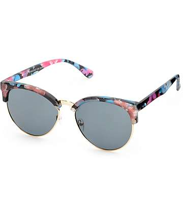 Pink & Blue Floral Retro Sunglasses