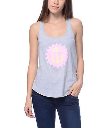 Pink Dolphin Anchor Splash Grey Tank Top