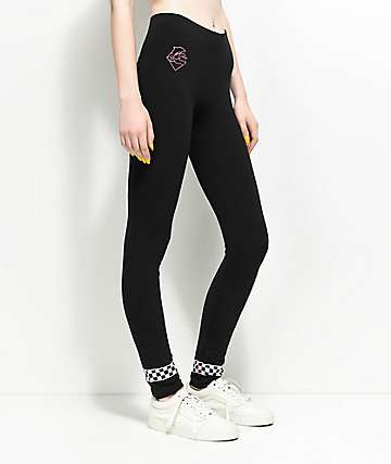 Pink Dolphin Checker Black Leggings