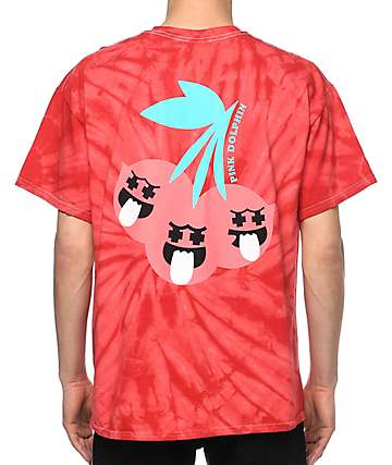 Pink Dolphin Cherry Ghost camiseta roja con efecto tie dye