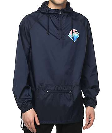 Pink Dolphin Core Tsunami Navy Windbreaker Jacket
