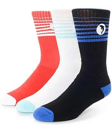 Pink Dolphin DMS Logo 3 Pack Crew Socks