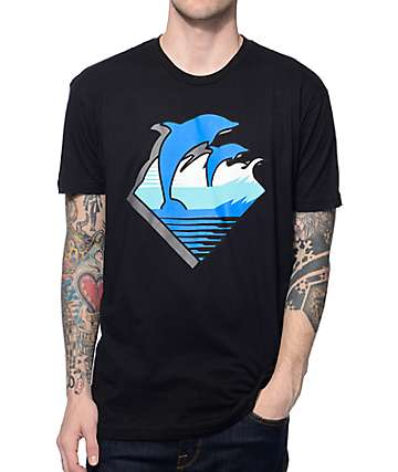 Pink Dolphin DMS Waves Black T-Shirt