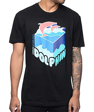 Pink Dolphin Depth Sample Black T-Shirt