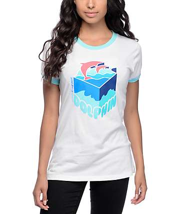 Pink Dolphin Depth Sample White & Aqua Ringer T-Shirt