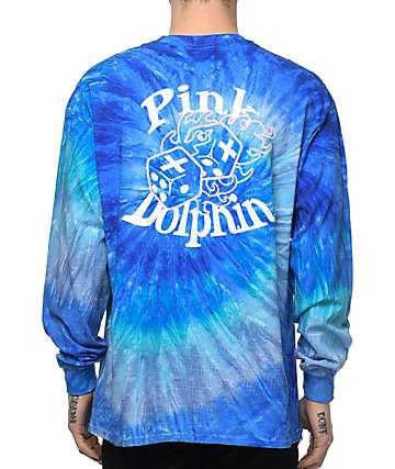 Pink Dolphin Dice Roll camiseta de manga larga con efecto tie dye
