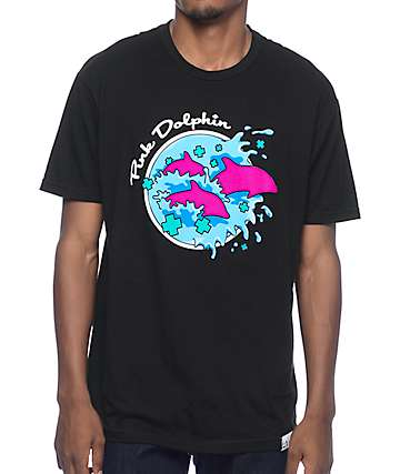 Pink Dolphin Enter The Wave Black T-Shirt