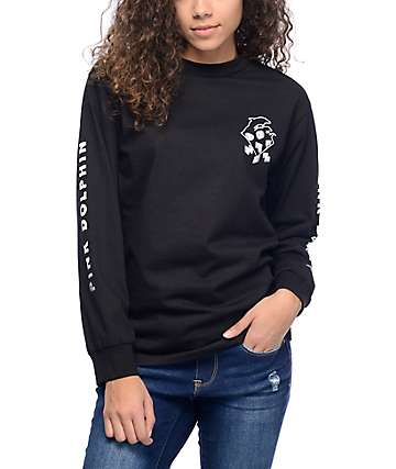 Pink Dolphin Fade Block Black Long Sleeve T-Shirt