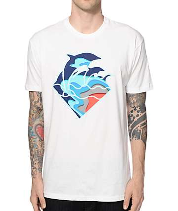 Pink Dolphin Fall Waves T-Shirt