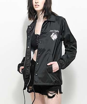 Pink Dolphin Floral Script Black Coaches Jacket