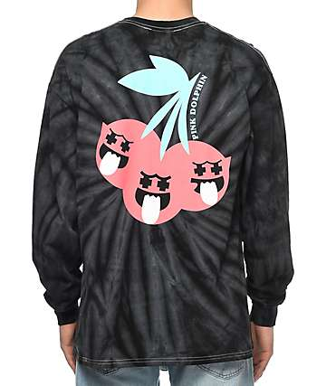 Pink Dolphin Ghost Cherry Black Tie Dye Long Sleeve T-Shirt