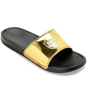 Pink Dolphin Ghost Gold & Black Slide Sandals