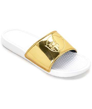 Pink Dolphin Ghost Gold & White Slide Sandals