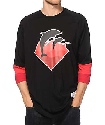 Pink Dolphin Holiday Waves Baseball T-Shirt