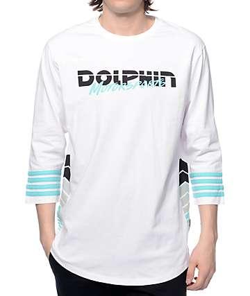 Pink Dolphin Moto Script White Baseball T-Shirt